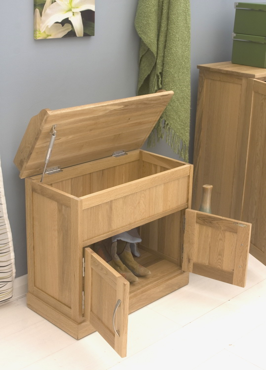 Conran Solid Oak Furniture Hallway Shoe Storage Bench Cabinet Ebay: shoe cabinet bench