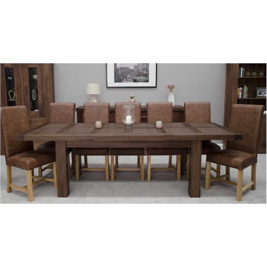 Kendo solid modern walnut dining room furniture grand extending dining table ebay - Extension tables dining room furniture ...
