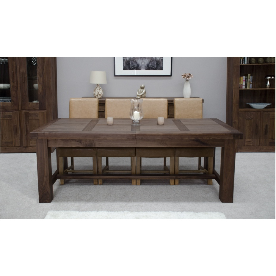 Kendo solid walnut dining room furniture extra large for Extra small dining table