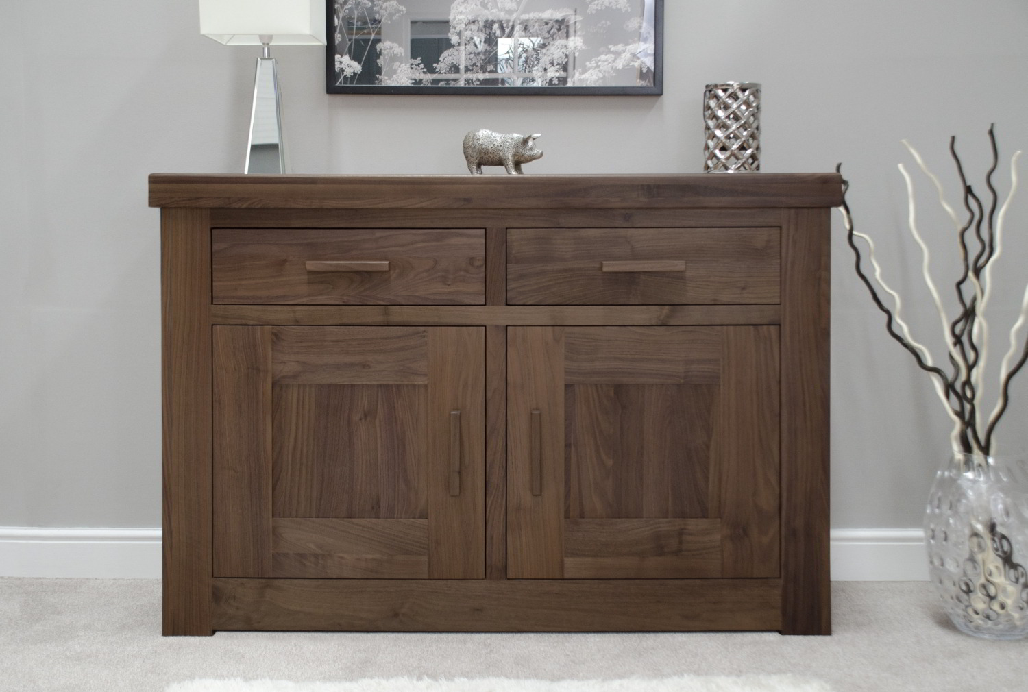 Kendo Solid Modern Walnut Living Dining Room Furniture Small Sideboard EBay