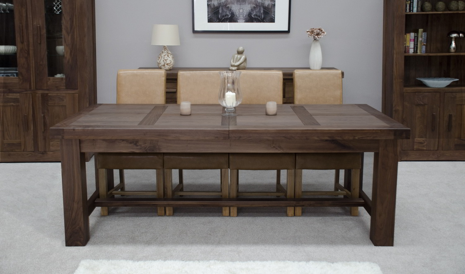Kendo solid walnut dining room furniture extra large for Large dining room table
