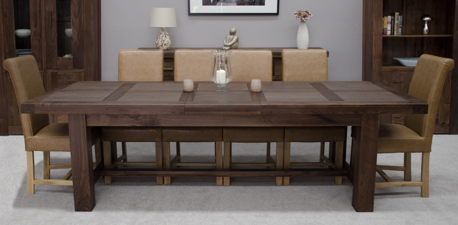 Kendo solid walnut dining room furniture extra large for Big dining table in small space