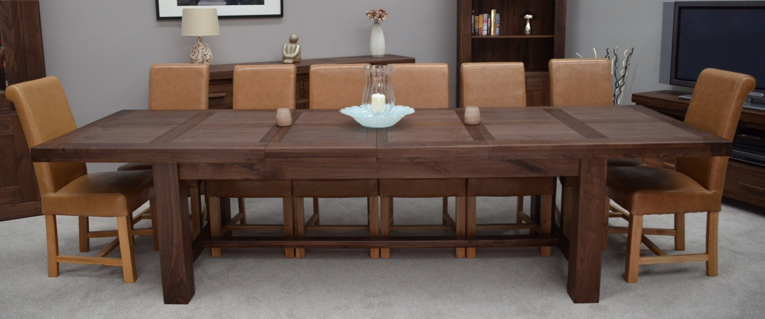 Kendo solid walnut dining room furniture extra large extending dining table ebay - Extension tables dining room furniture ...