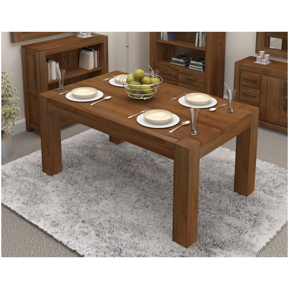 Linea solid walnut home dining room furniture four to six for Dining room tables 6 seater