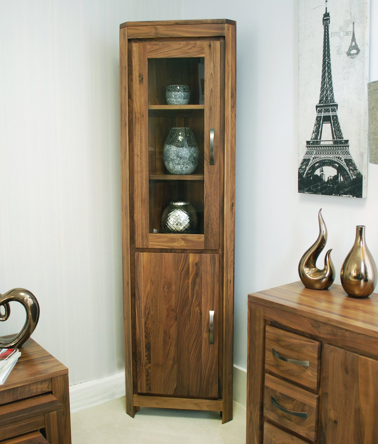 Walnut Living Room Furniture Linea Solid Walnut Home Furniture Glazed Corner Display Cabinet Unit