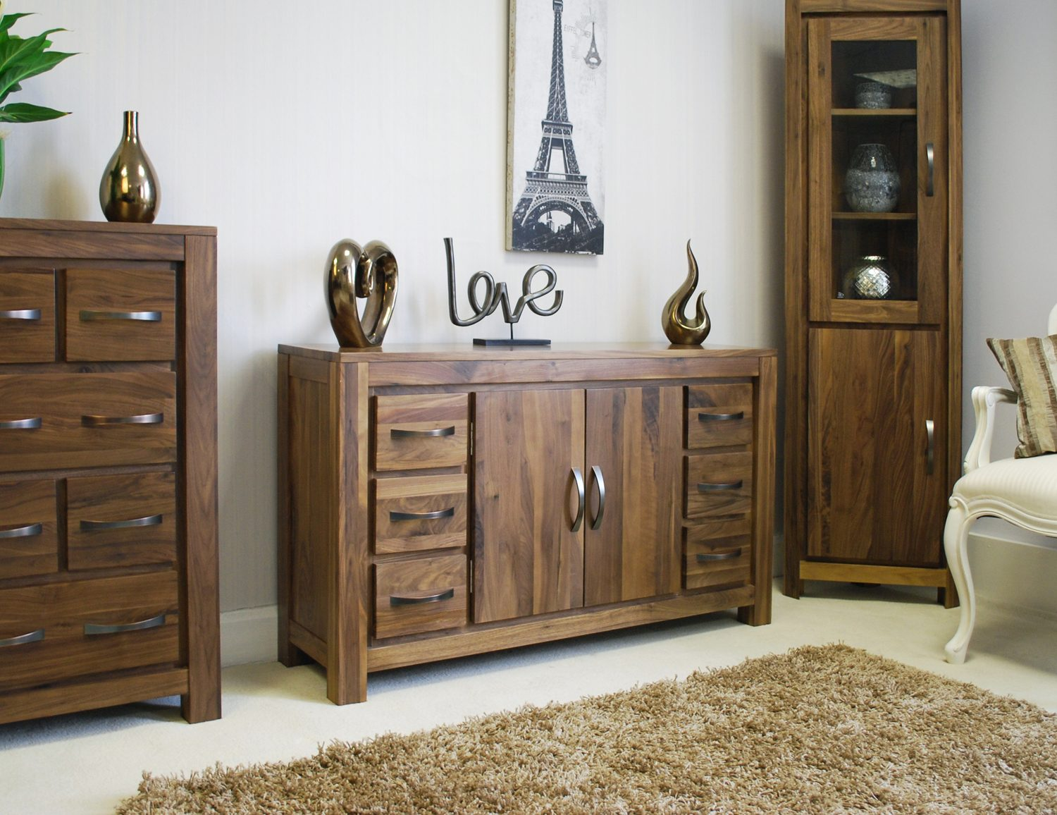 linea solid walnut home furniture large six drawer living dining  - linea solid walnut home furniture large six drawer living dining roomsideboard