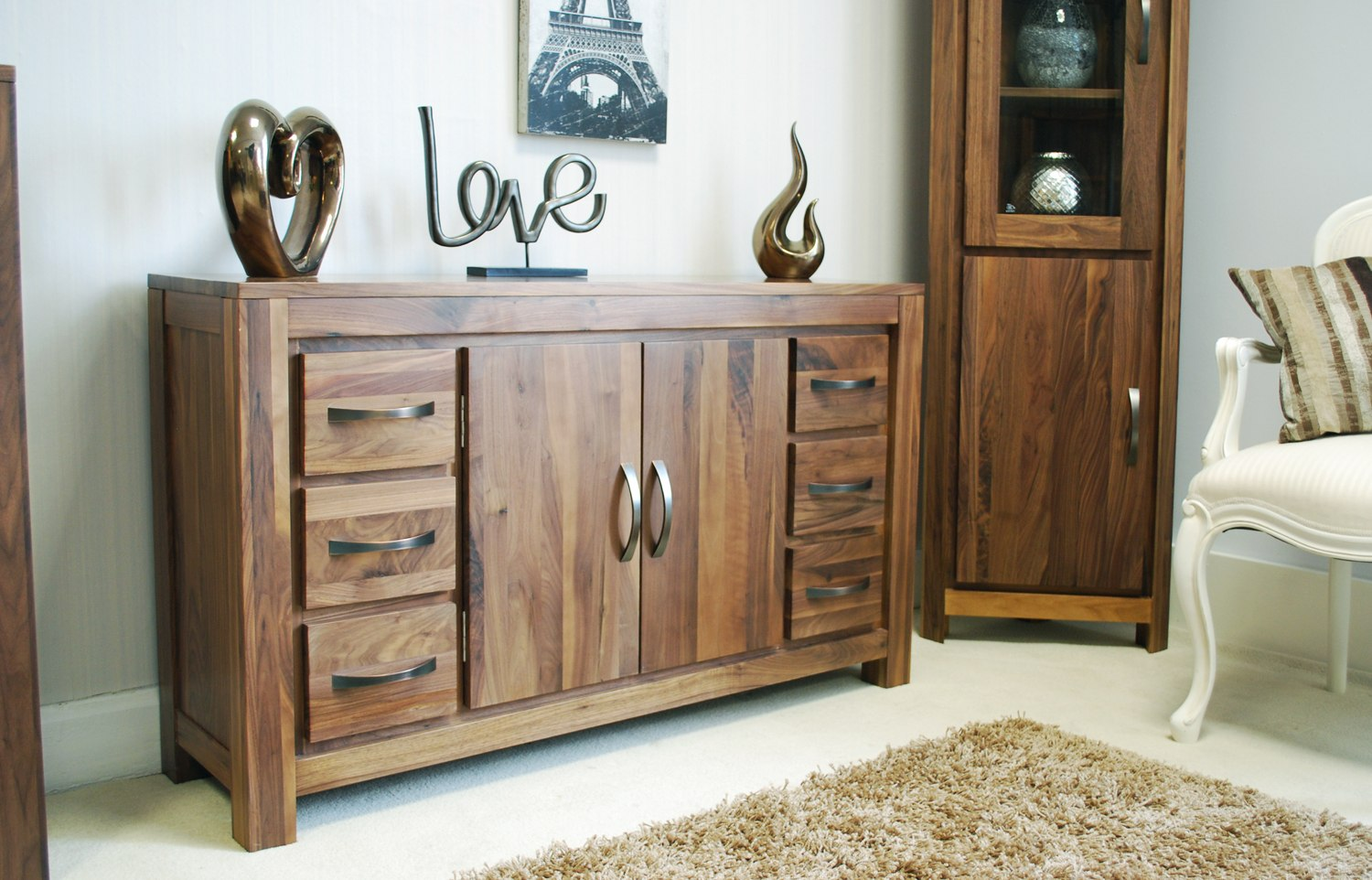 Walnut Living Room Furniture Linea Solid Walnut Home Furniture Large Six Drawer Living Dining
