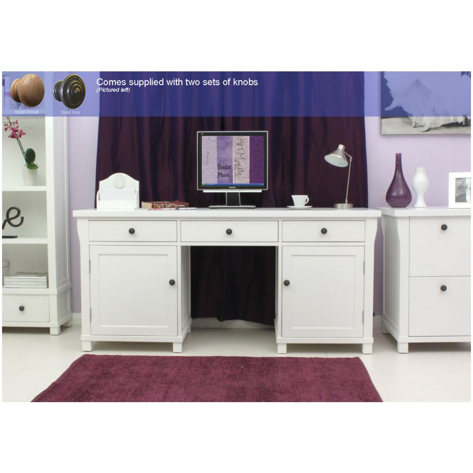 White Hideaway Computer Desk Alphason New Aw65002