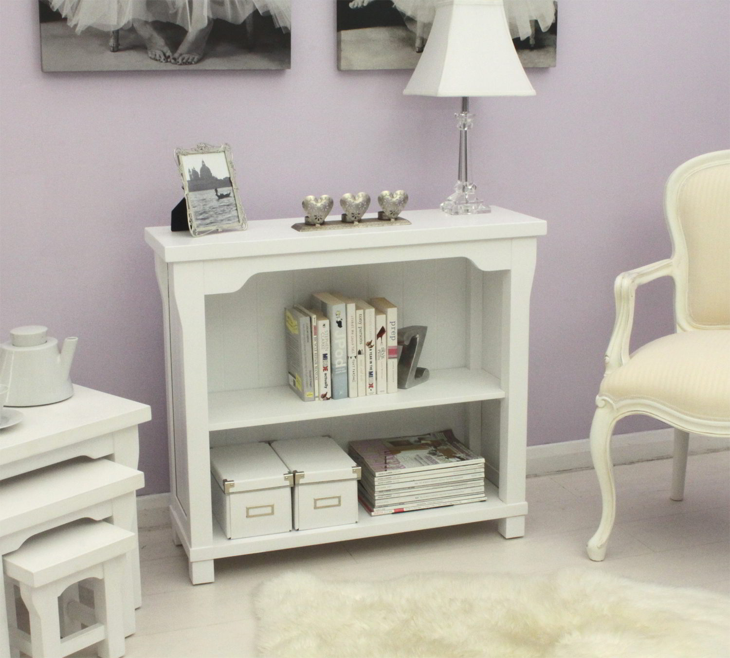 New England White Painted Furniture Small Living Room