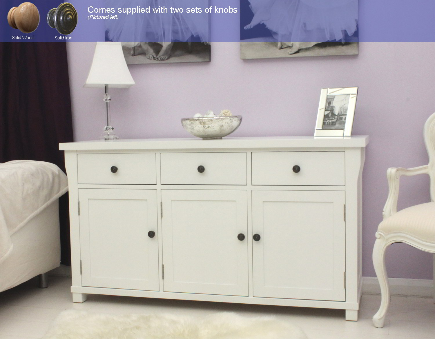 New England White Painted Furniture Large Living Dining Room Sideboard EBay