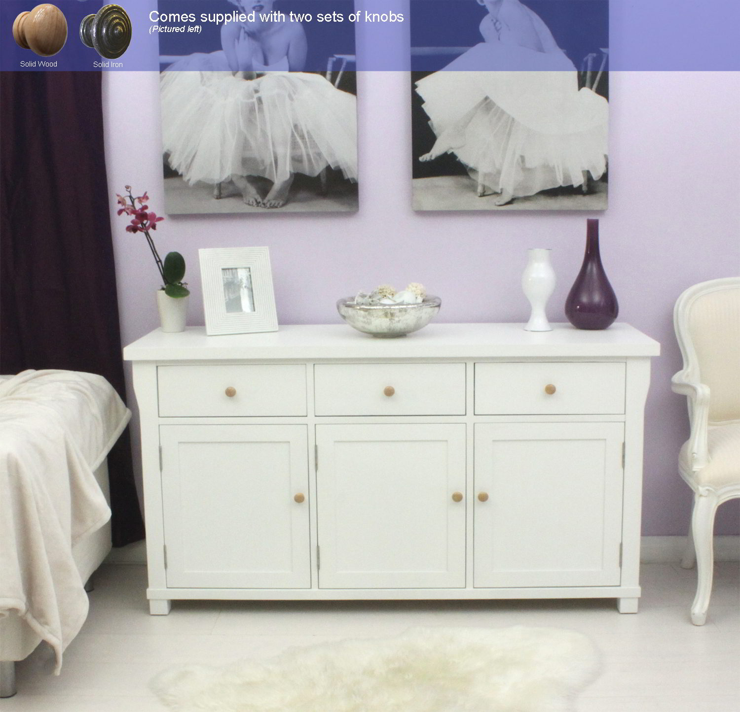 New England White Painted Furniture Large Living Dining