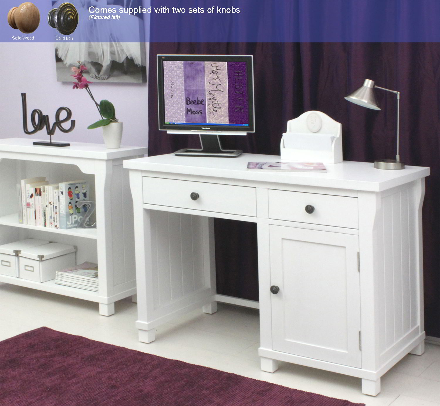 New England White Painted Furniture Single Pedestal Office