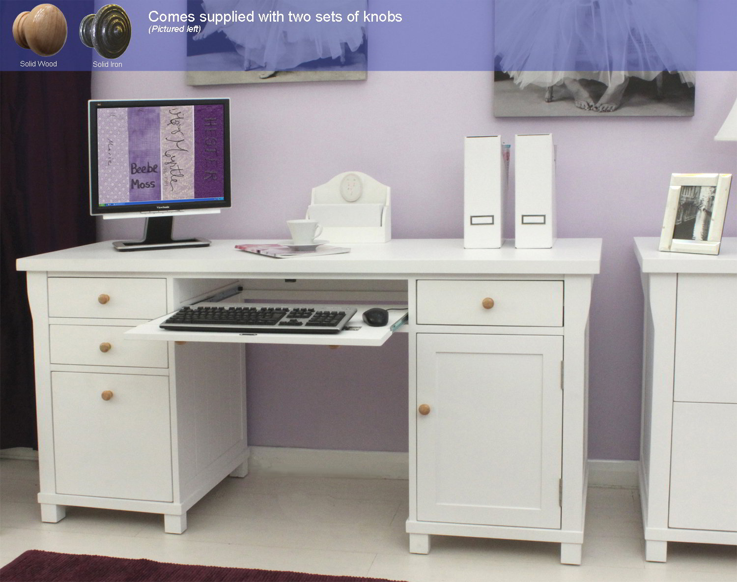 new england white painted furniture large office pc. Black Bedroom Furniture Sets. Home Design Ideas