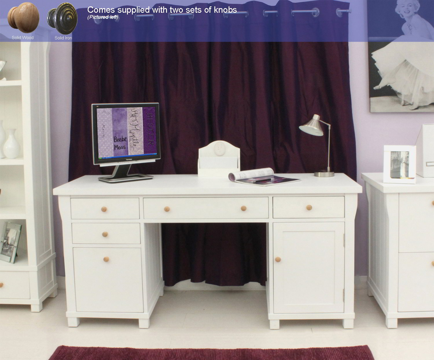 New England White Painted Furniture Large Office Pc