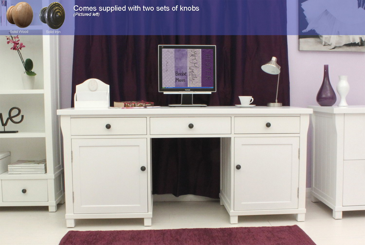 New England White Painted Furniture Large Hideaway Office