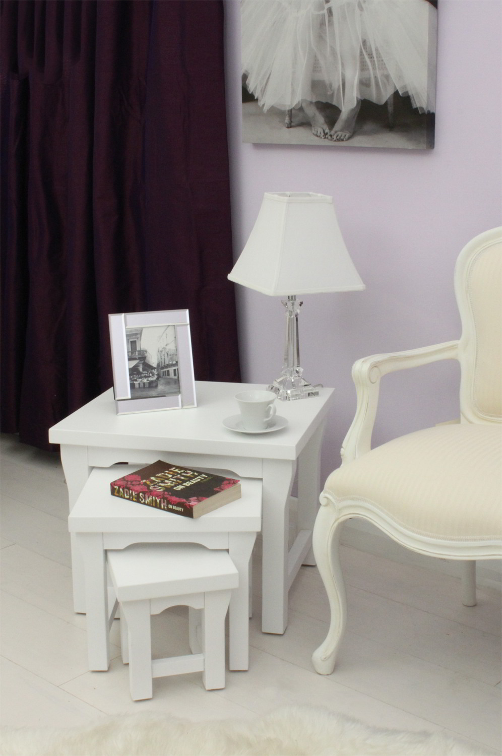 New England White Painted Living Room Furniture Nest Of Three Coffee Tables Ebay