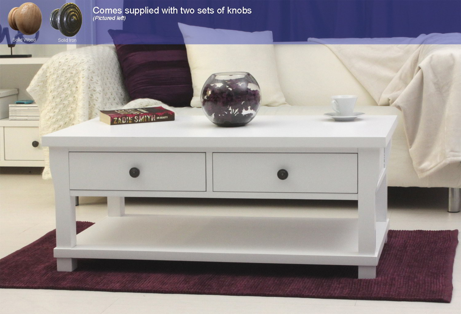 New England White Painted Living Room Furniture Four Drawer Storage Coffee Table Ebay