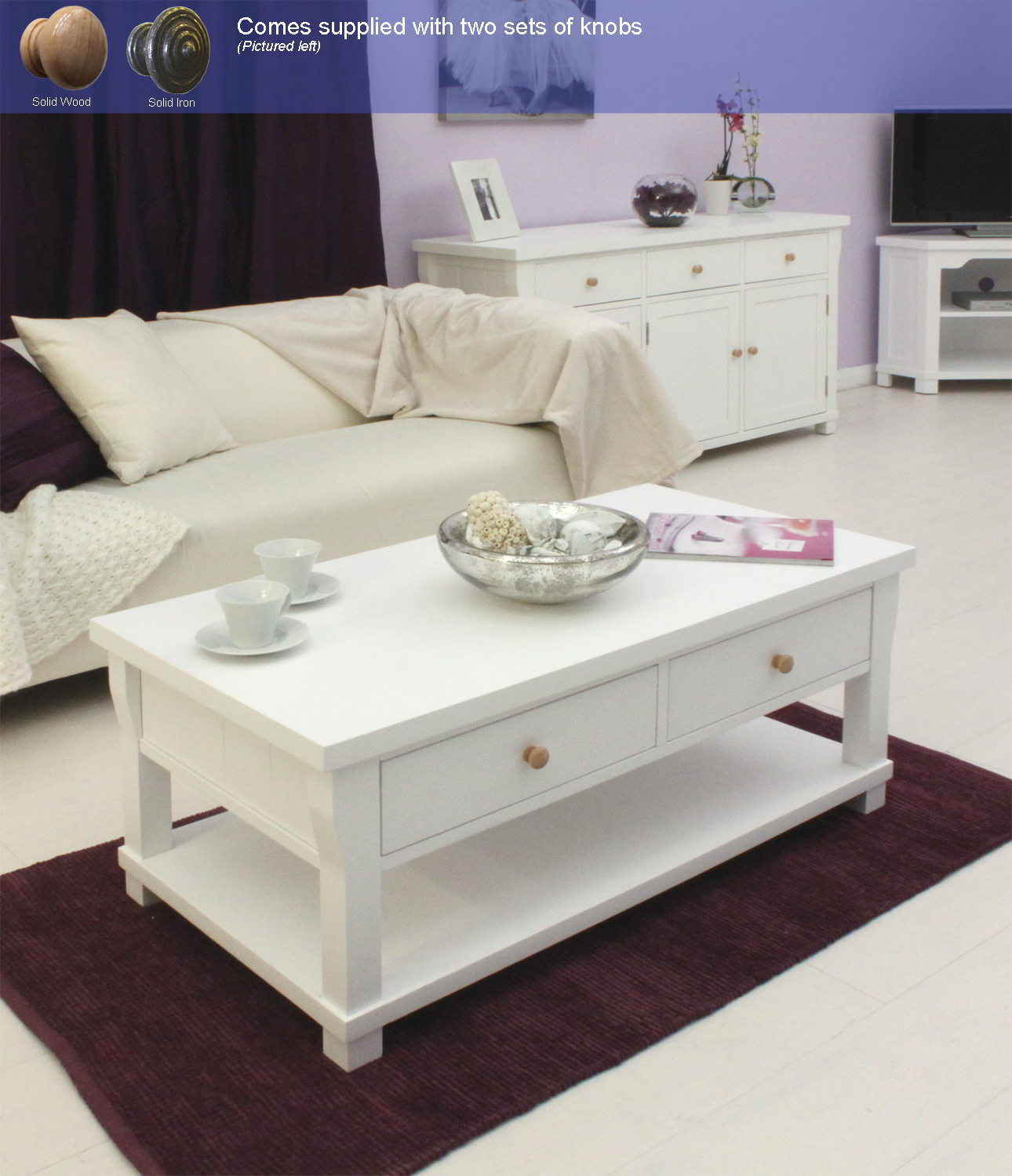 New England White Painted Living Room Furniture Four