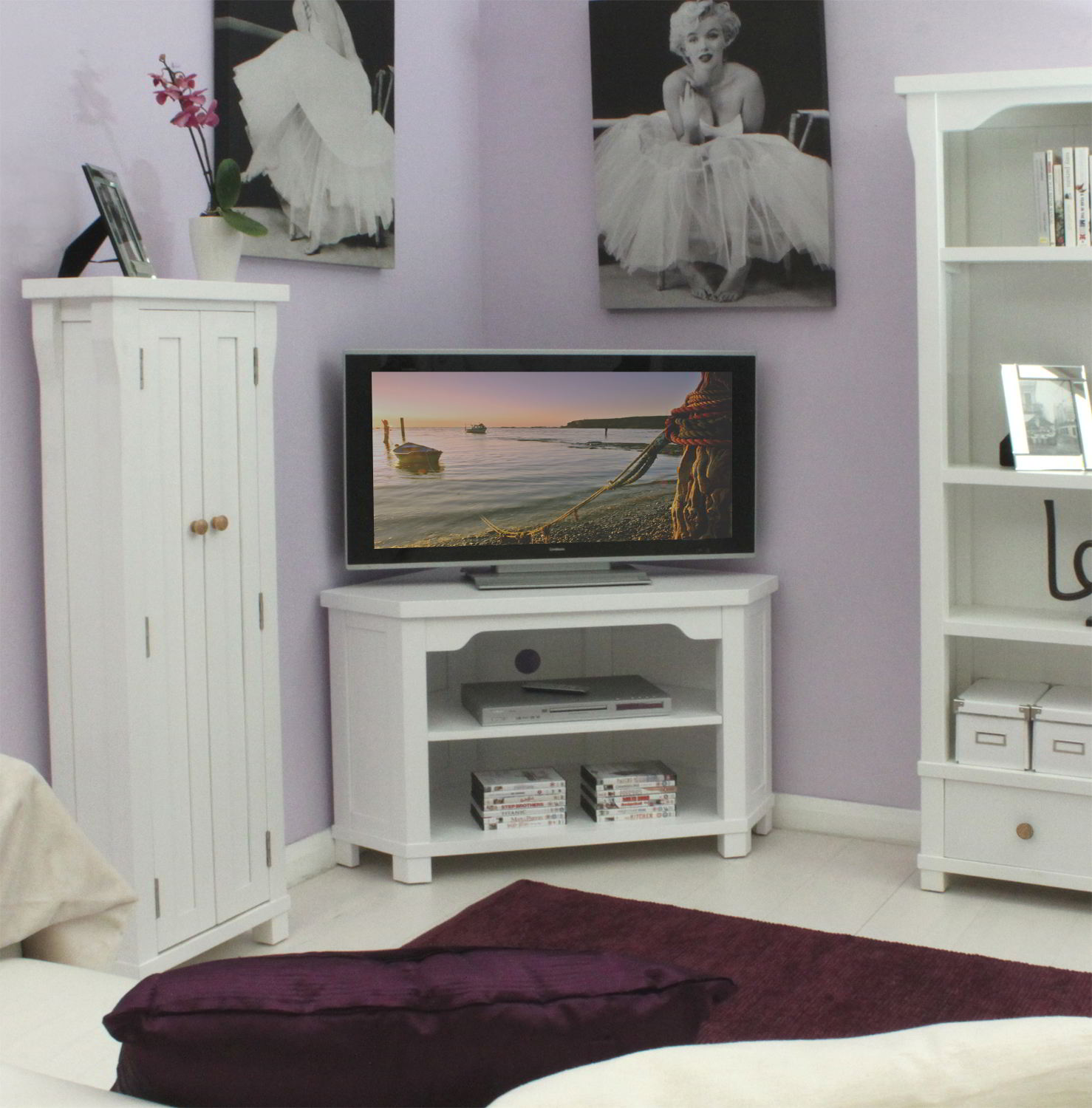 new england white painted living room furniture corner television cabinet stand ebay. Black Bedroom Furniture Sets. Home Design Ideas