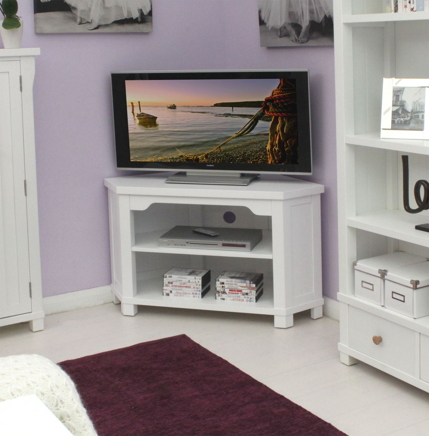 New england white painted living room furniture corner television cabinet stand ebay for Tv corner cabinets living room