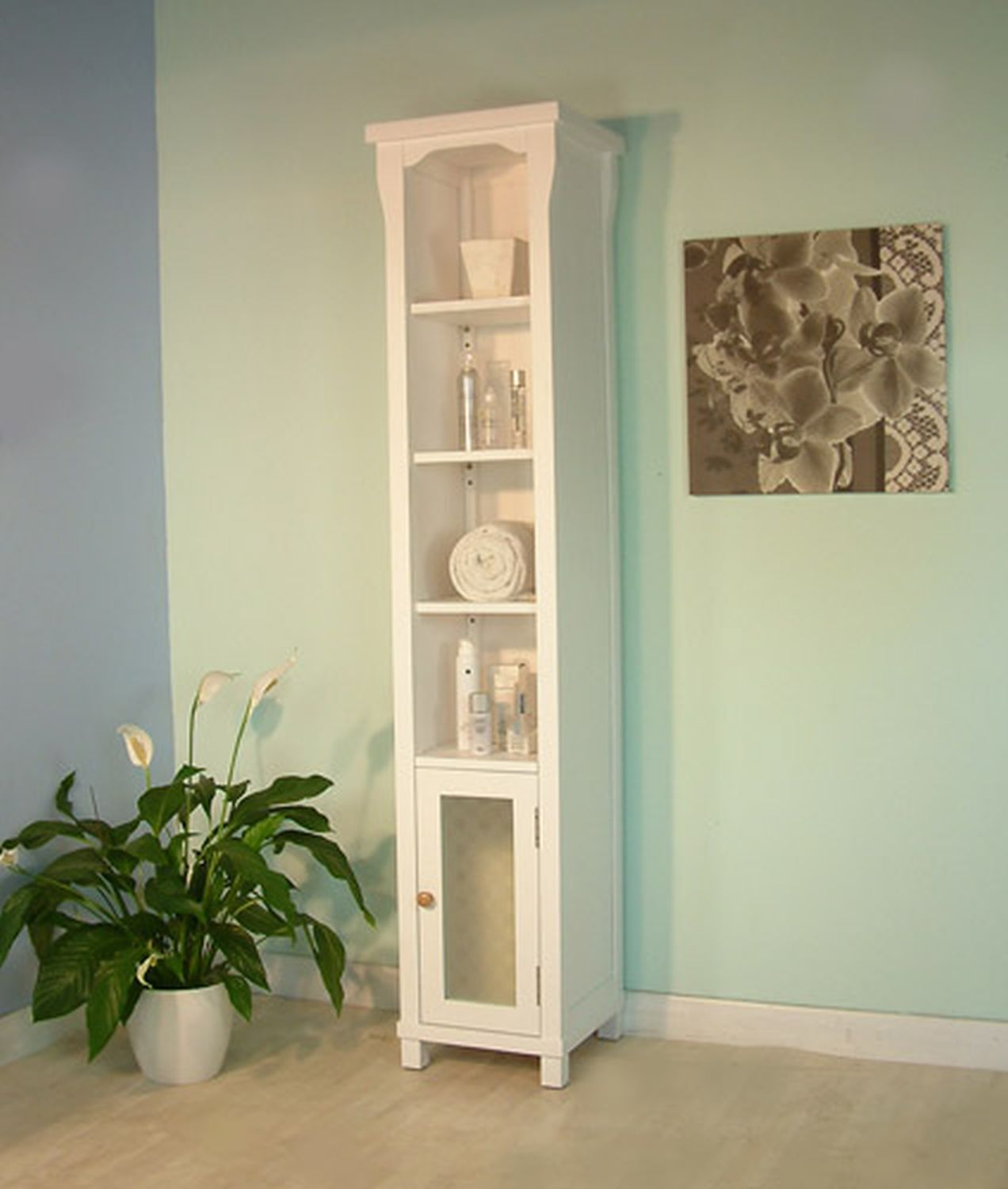 New England White Painted Furniture Tall Bathroom Cabinet