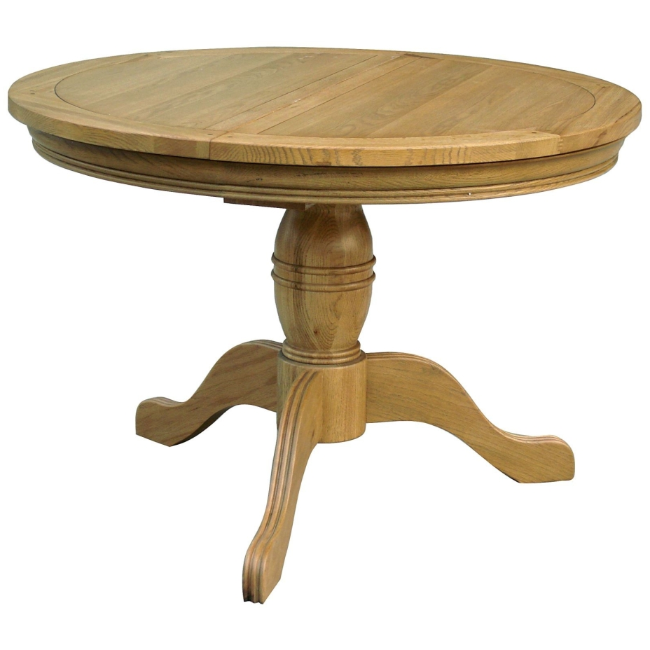 Linden solid oak dining room furniture round extending for Pedestal dining table and chairs