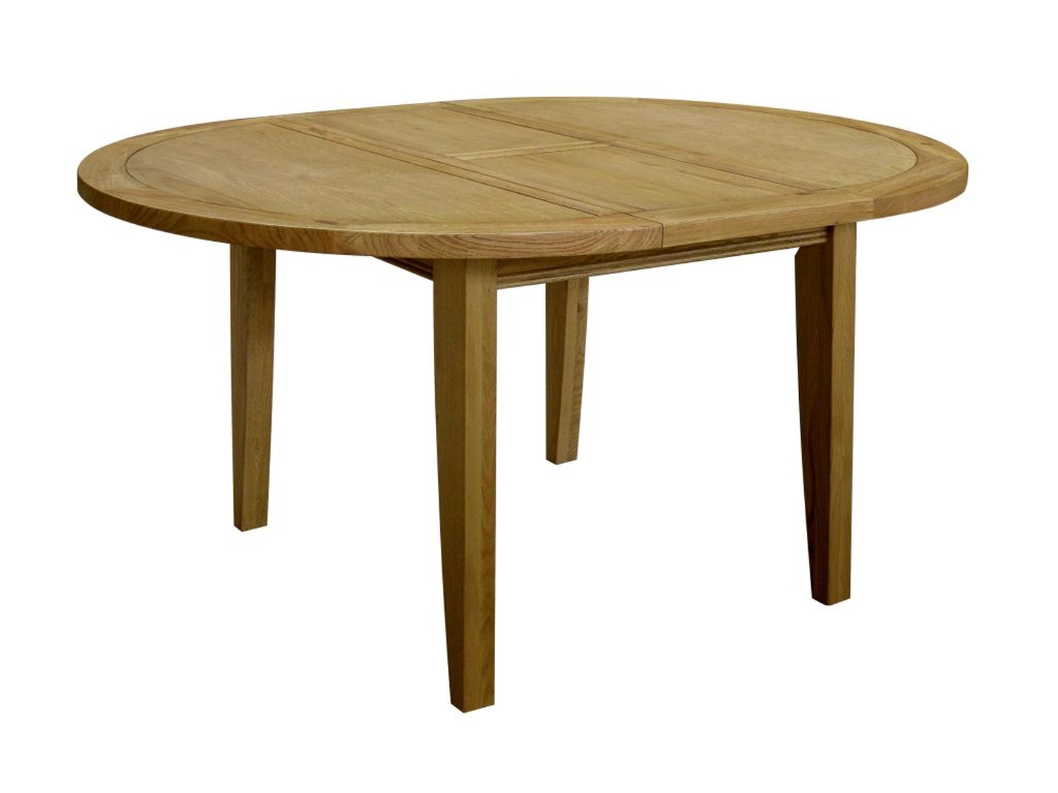 Linden oak dining room furniture round extending dining for Oak dining room table
