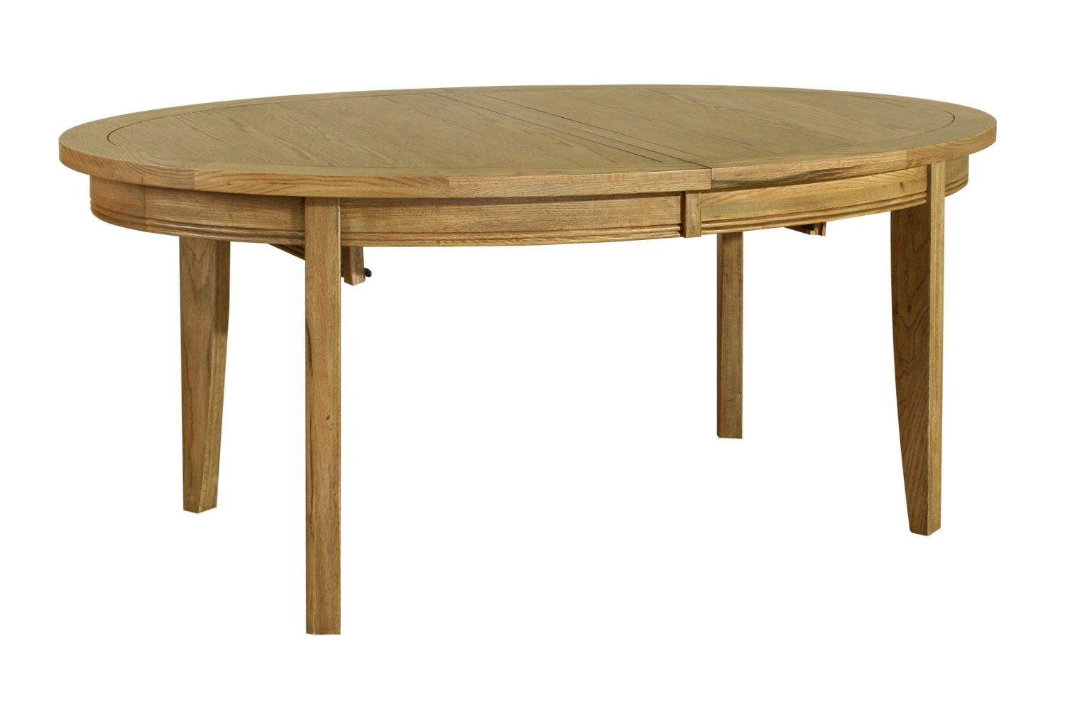 Linden solid oak dining room furniture oval extending for Solid oak dining table