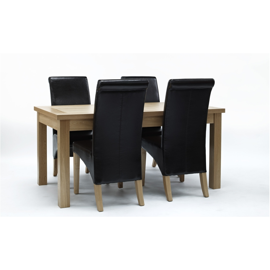compton solid oak furniture dining room table and four
