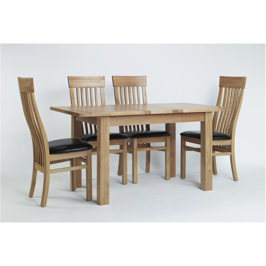 compton solid oak furniture dining table and four leather