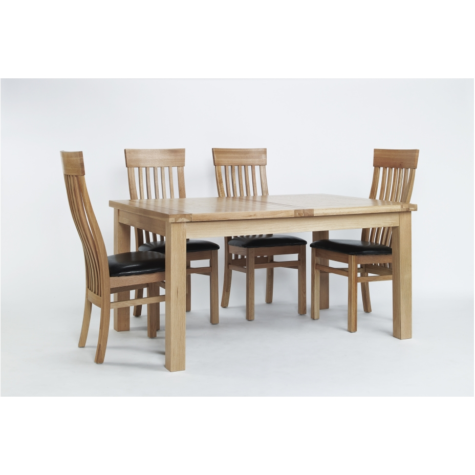 solid oak furniture large extending dining table and six chairs set
