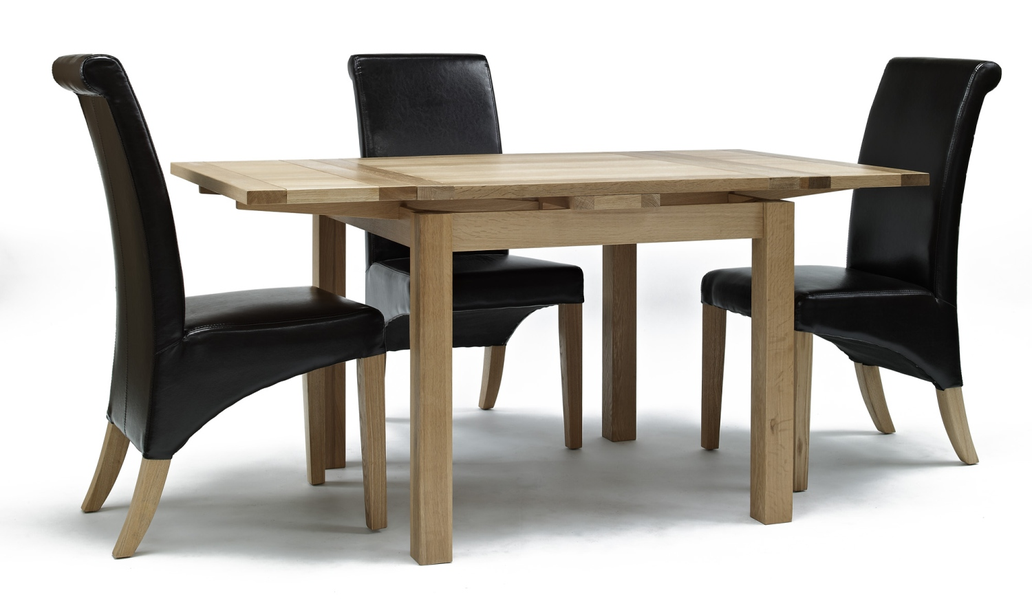 compton solid oak furniture table and four leather seat