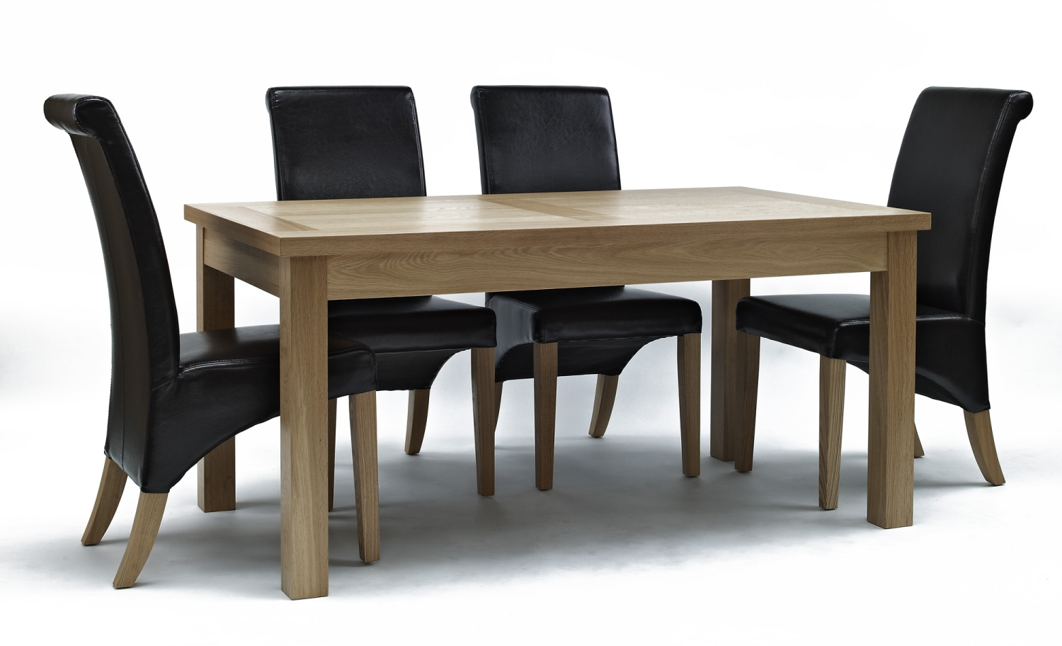 solid oak furniture dining room table and four leather seat chairs set