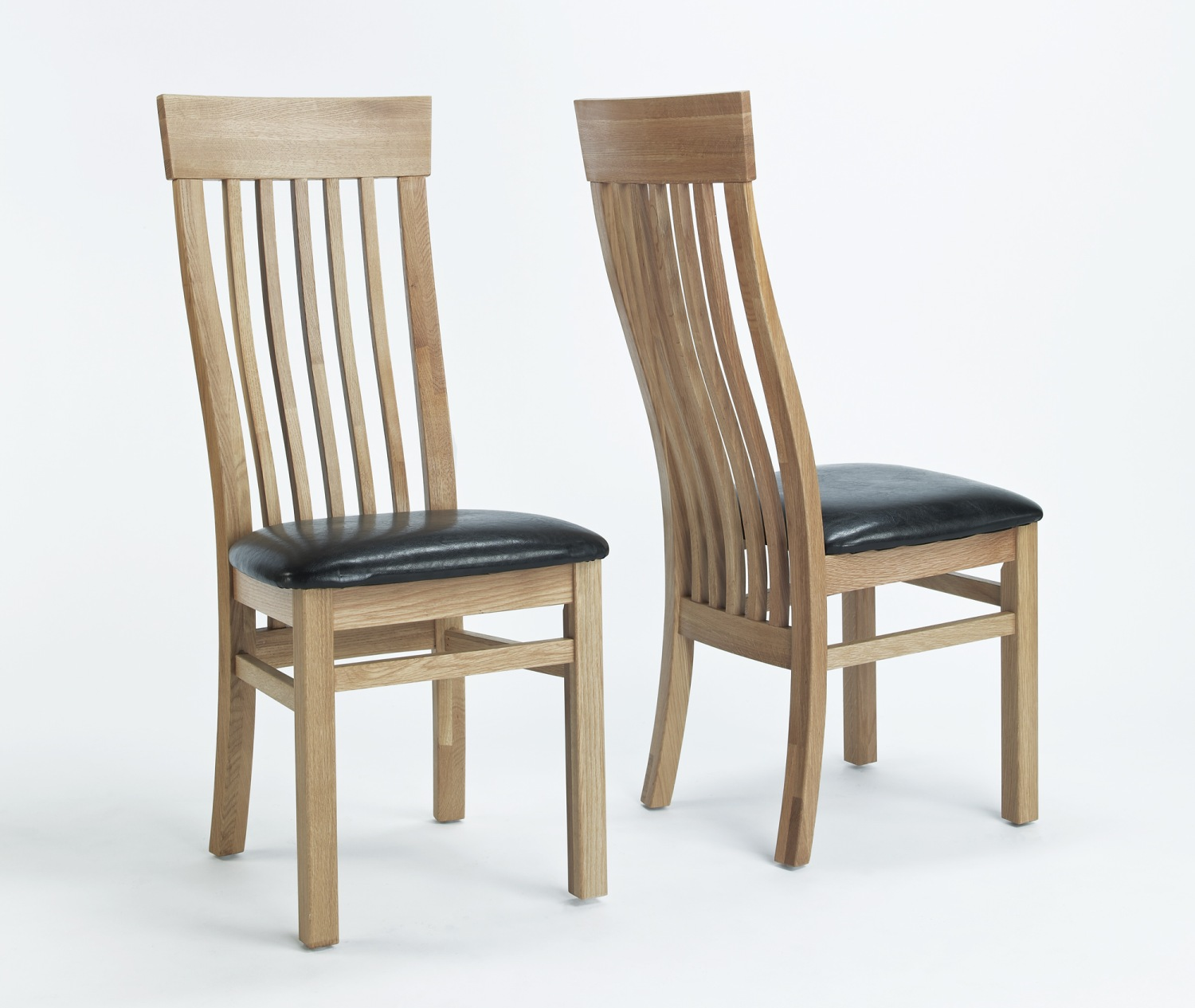 solid oak furniture set of four leather seat dining room chairs ebay