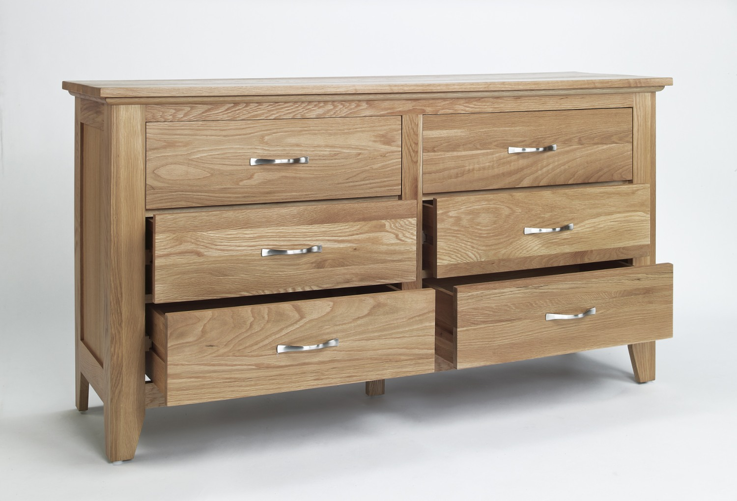 Compton solid oak furniture low bedroom chest of drawers for Solid oak furniture