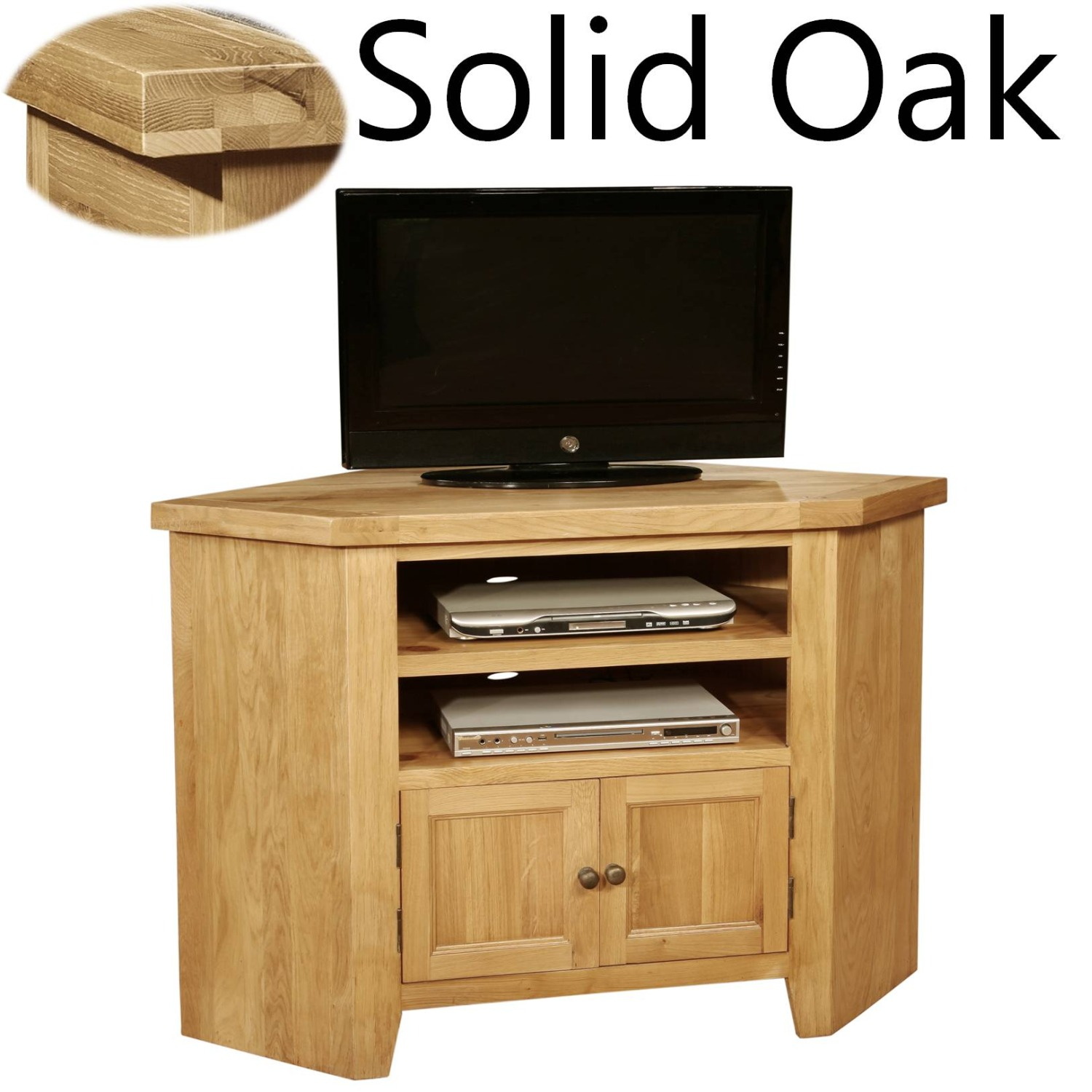 Panama Solid Oak Furniture Living Room Corner Television Cabinet Stand Unit