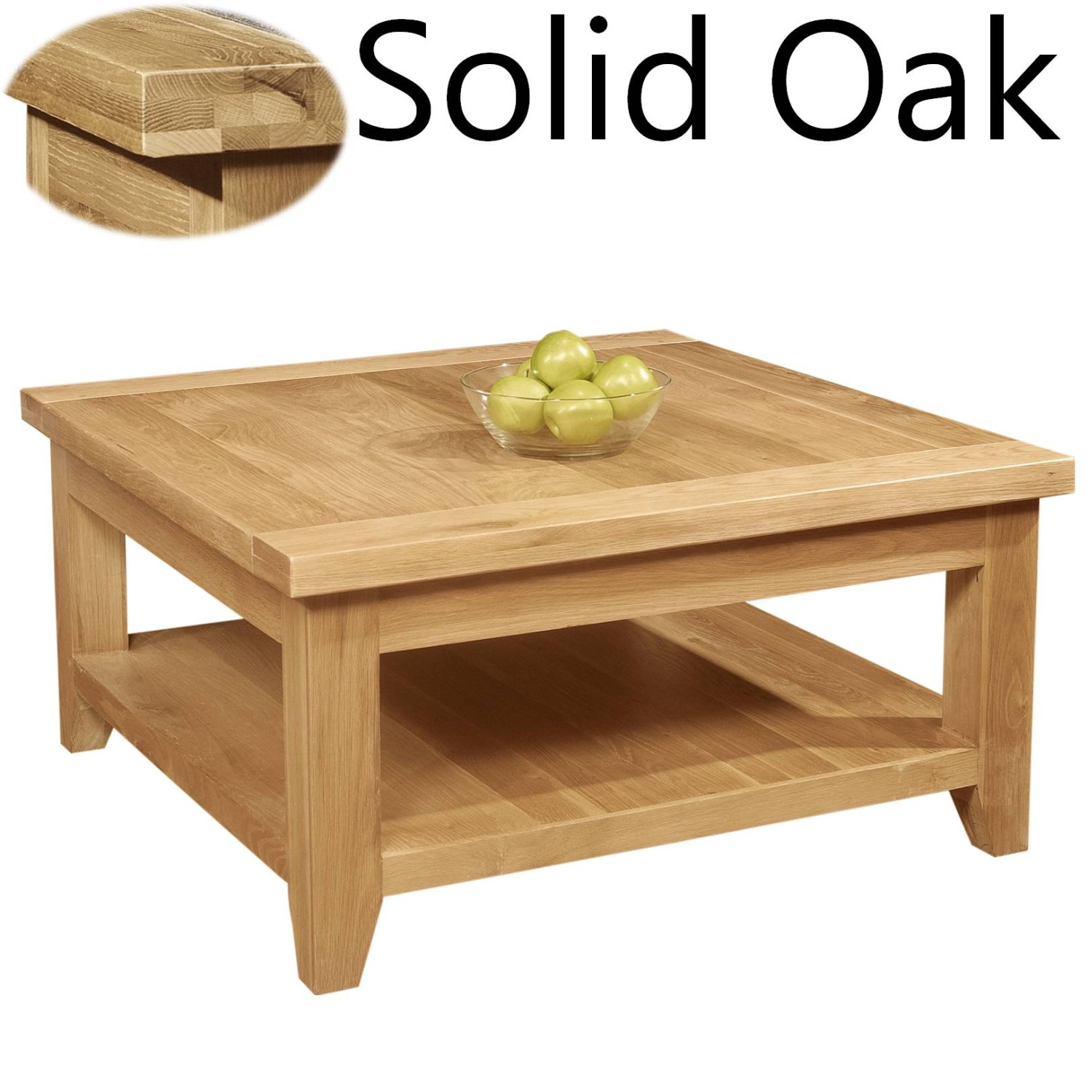 Panama solid oak living room furniture square coffee table for Solid oak furniture