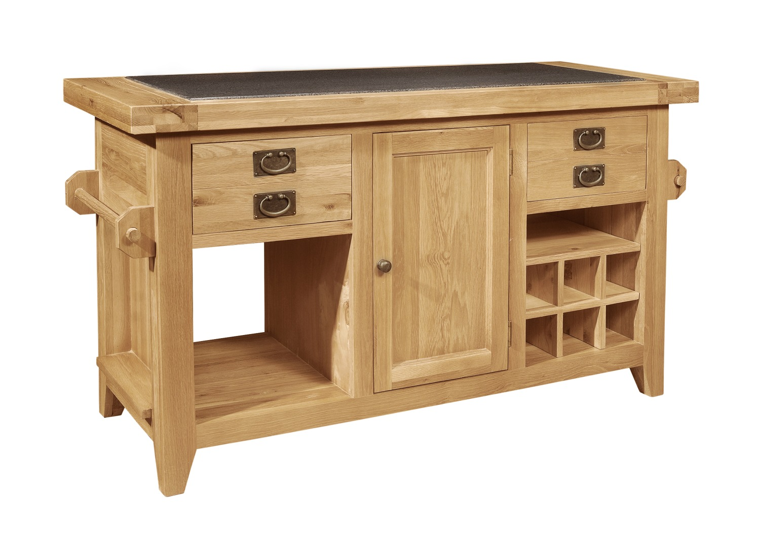 Panama solid oak furniture large granite top kitchen for Marble topped kitchen island