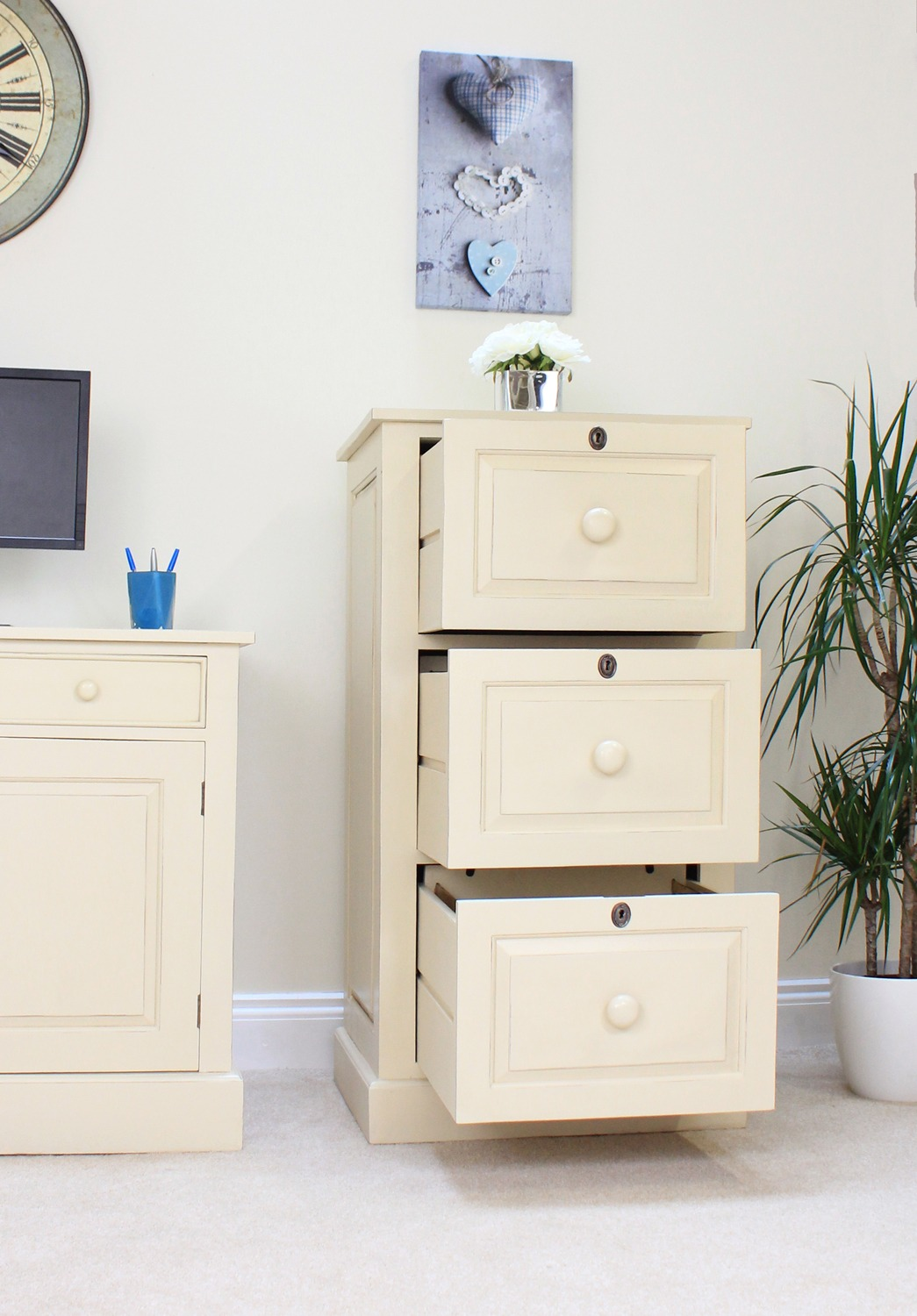 Athena Solid Mahogany Cream Painted Furniture Large Office
