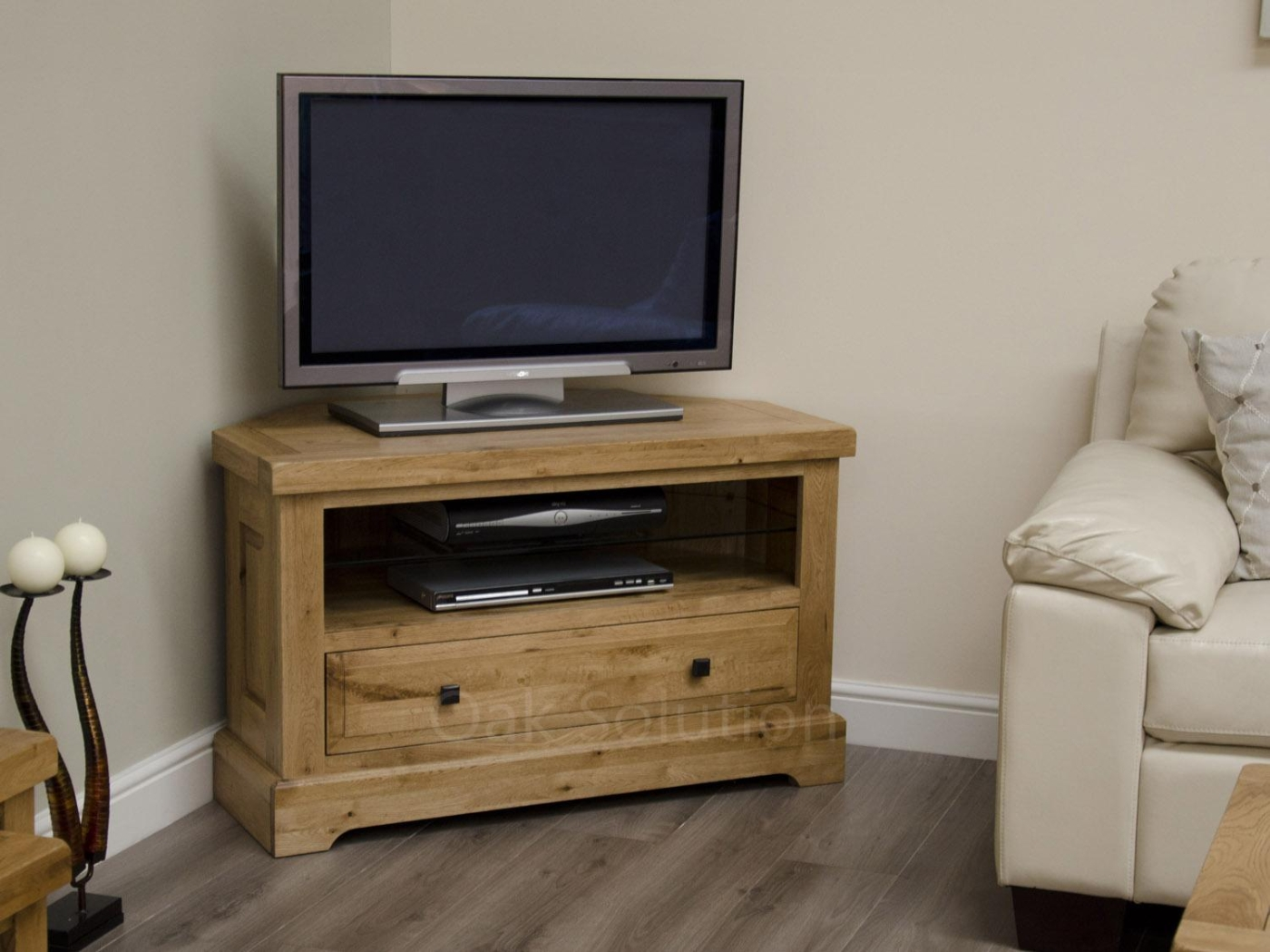 Regent Solid Oak Furniture Living Room Corner Television Cabinet Stand Unit