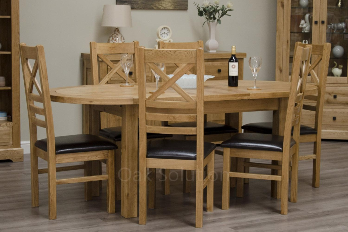 Regent Solid Oak Furniture Oval Extending Dining Table And
