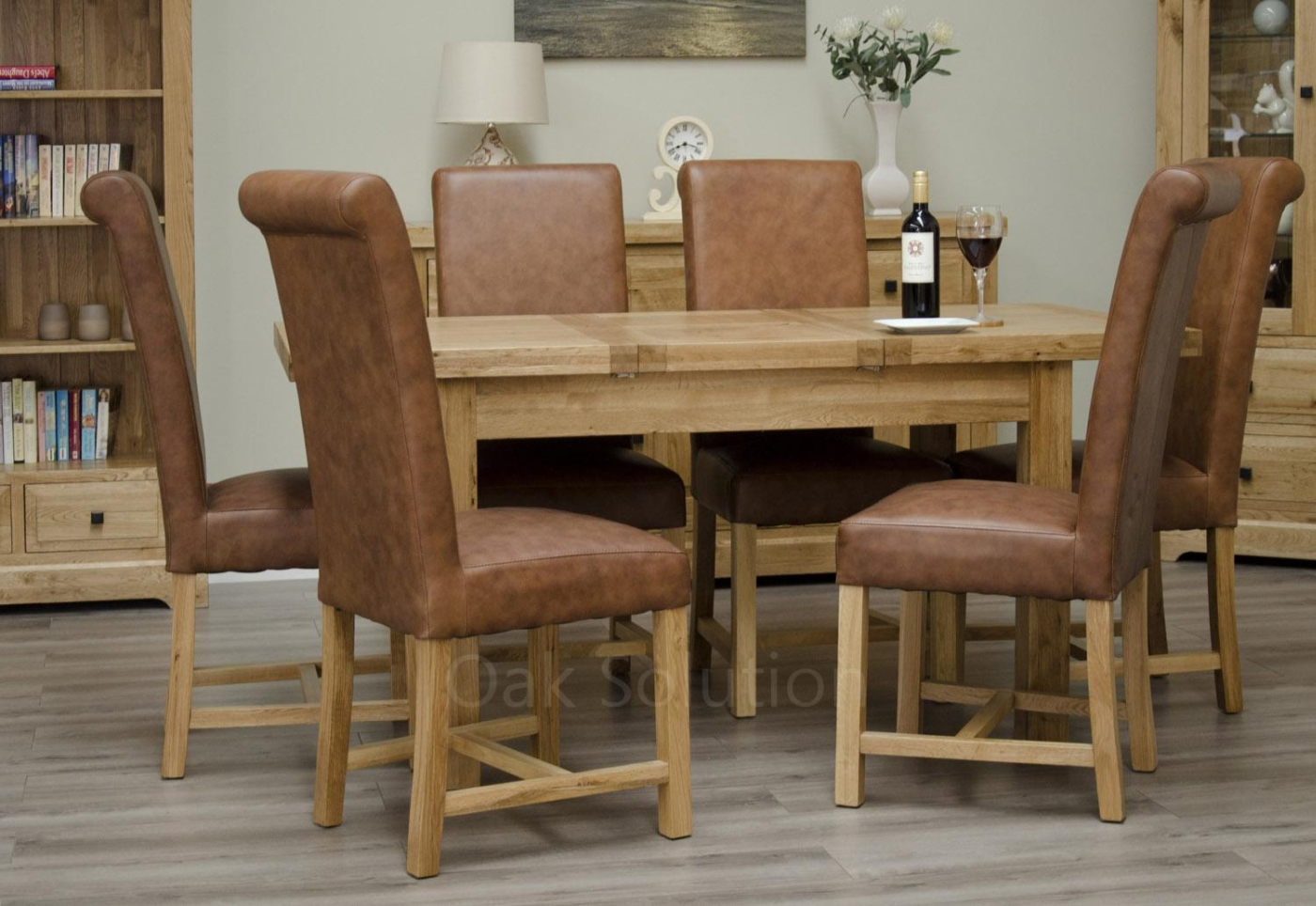 regent solid oak furniture extending dining table and six