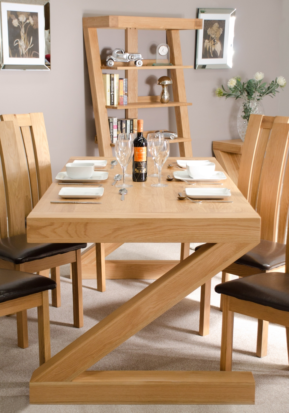 Z Solid Oak Designer Furniture Large Chunky Dining Room Table Ebay