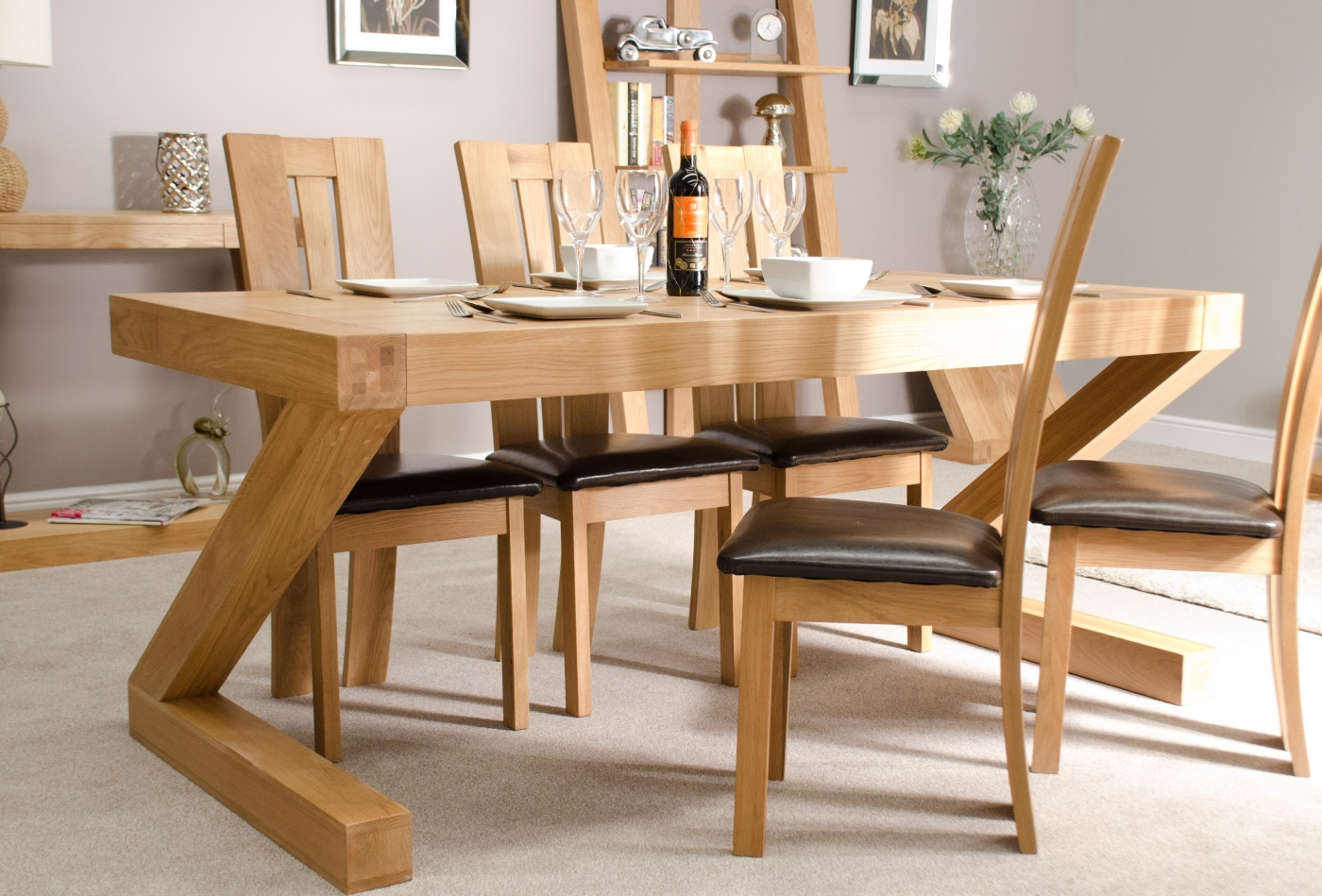 z solid oak designer furniture large chunky dining room