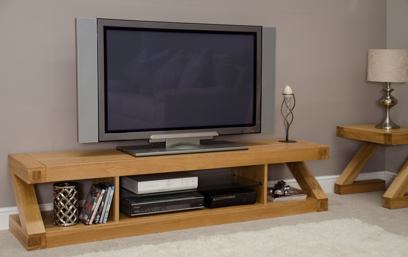 Z Solid Oak Designer Furniture Large Widescreen Tv Cabinet Stand Unit