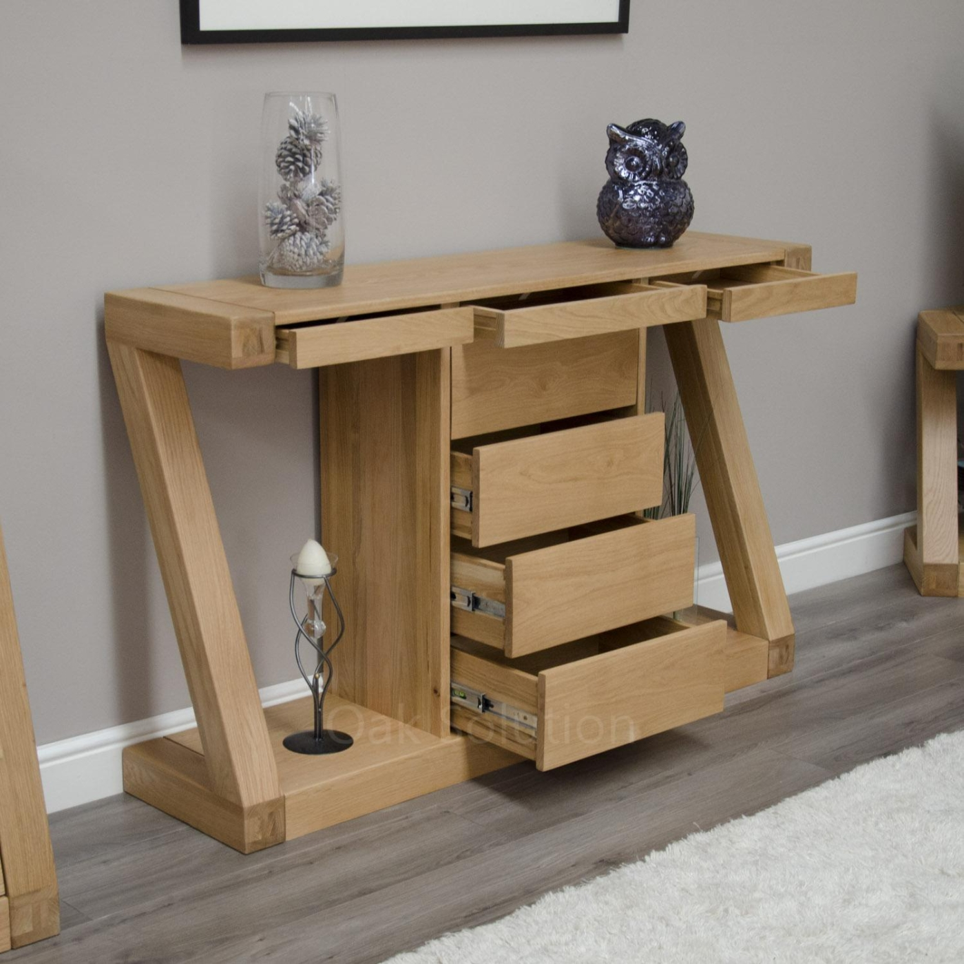 Z Solid Oak Designer Furniture Hall Console Hallway Table With Drawers Ebay