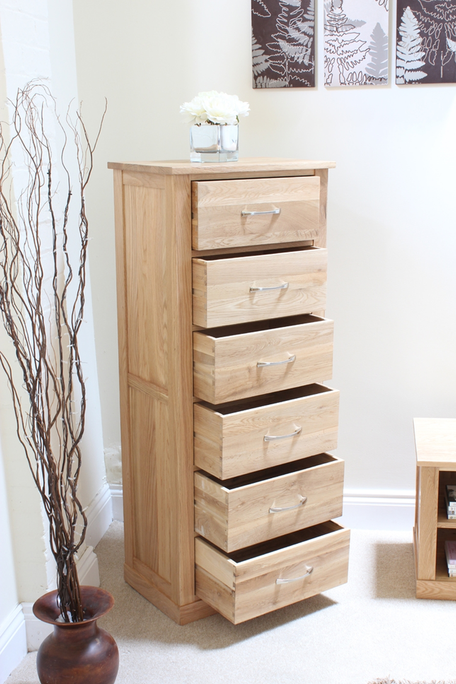 Conran solid oak tallboy chest of drawers modern