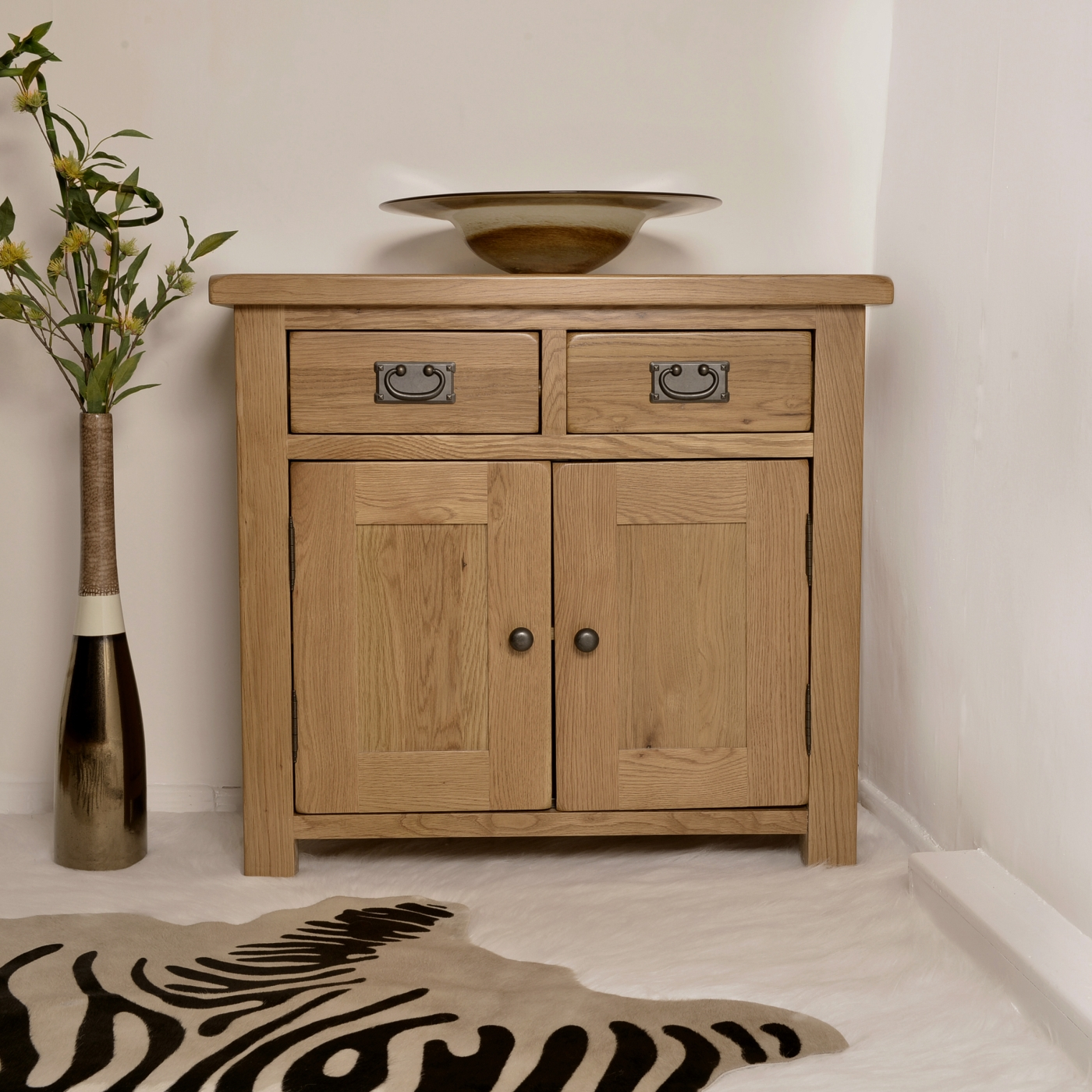Solid Oak Sideboard Small Buffet Dining Living Room Rustic Furniture EBay