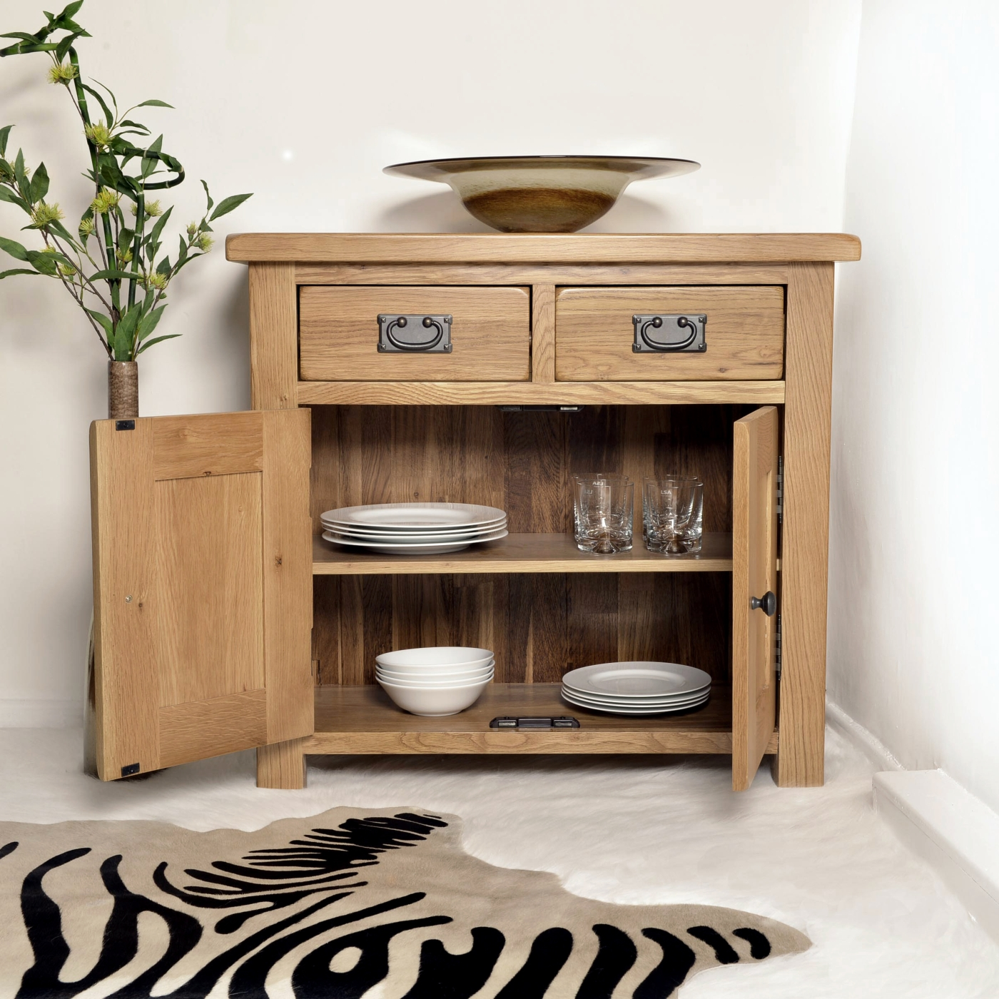 solid oak sideboard small buffet dining living room rustic