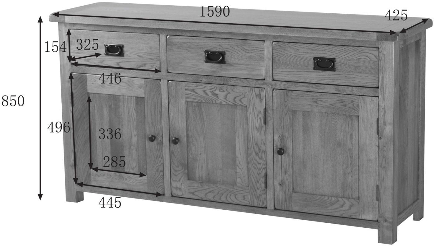 Solid Oak Extra Large Sideboard Dining Living Room Traditional Rustic . Full resolution  portraiture, nominally Width 1400 Height 793 pixels, portraiture with #646765.